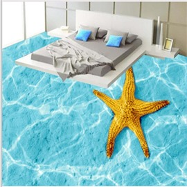 3D Starfish and Seawater Pattern Waterproof Nonslip Self-Adhesive Blue Floor Art Murals