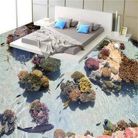 3D Colorful Coral and Seawater Pattern Waterproof Nonslip Self-Adhesive Floor Art Murals