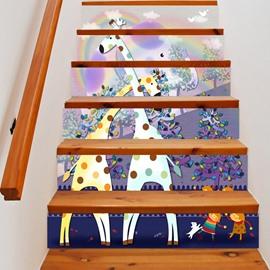 3D Giraffe and Tree 6-Piece PVC Waterproof Eco-friendly Self-Adhesive Stair Mural