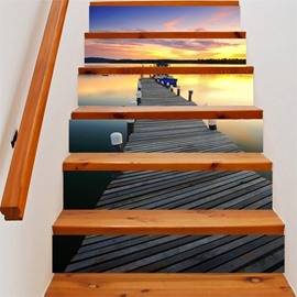 3D Bridge By the Lake 6-Piece PVC Waterproof Eco-friendly Self-Adhesive Stair Mural