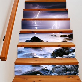 3D Lightning and Reef 6-Piece PVC Waterproof Eco-friendly Self-Adhesive Stair Mural