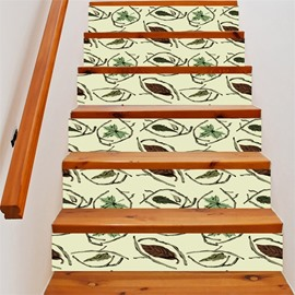 3D Leaves and Branches 6-Piece PVC Waterproof Eco-friendly Self-Adhesive Stair Mural