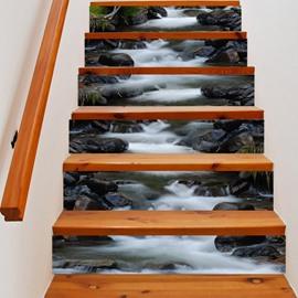 3D Rocks and Flowing Water 6-Piece PVC Waterproof Eco-friendly Self-Adhesive Stair Mural