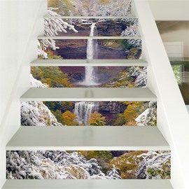 3D Snow Covered Tree with Waterfall 6-Piece PVC Waterproof Eco-friendly Self-Adhesive Stair Mural