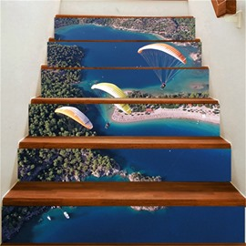 3D Three People and Skydiving 6-Piece PVC Waterproof Eco-friendly Self-Adhesive Stair Mural