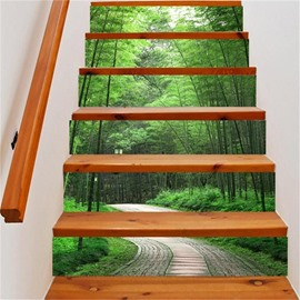 3D Bamboo Forest and Path 6-Piece PVC Waterproof Eco-friendly Self-Adhesive Stair Mural