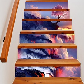 3D Mountain Clouds and Trees 6-Piece PVC Waterproof Eco-friendly Self-Adhesive Stair Mural