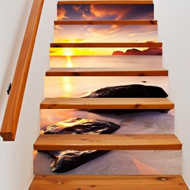 3D Seaside Stones 6-Piece PVC Waterproof Eco-friendly Self-Adhesive Stair Mural