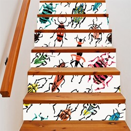 3D Colorful Reptile 6-Piece PVC Waterproof Eco-friendly Self-Adhesive Stair Mural