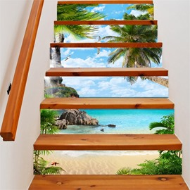 3D Seaside with Coconut Trees 6-Piece PVC Waterproof Eco-friendly Self-Adhesive Stair Mural