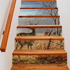 3D Deer Facing Away with Tree 6-Piece PVC Waterproof Eco-friendly Self-Adhesive Stair Mural