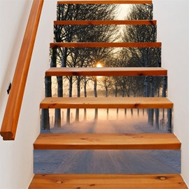 3D Morning Light and Trees 6-Piece PVC Waterproof Eco-friendly Self-Adhesive Stair Mural