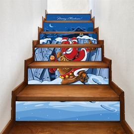 Cartoon Father Christmas PVC Waterproof Eco-friendly 3D 6-Piece Self-Adhesive Stair Mural