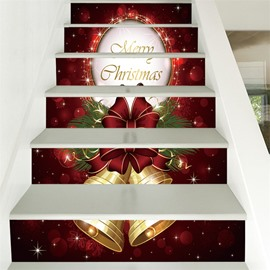 Christmas Letter And Bell PVC Waterproof Eco-friendly 3D 6-Piece Self-Adhesive Stair Mural