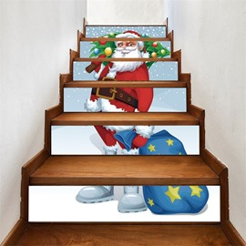3D 6-Piece PVC Waterproof Eco-friendly Father Christmas With Gifts Self-Adhesive Stair Mural