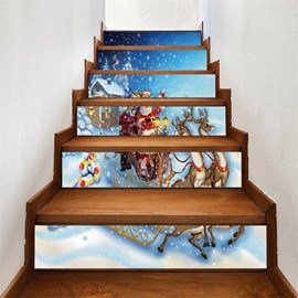 Father Christmas With Elk PVC Waterproof Eco-friendly 3D 6-Piece Self-Adhesive Stair Mural
