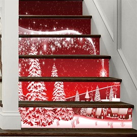 PVC Waterproof Eco-friendly 3D 6-Piece Red Christmas Tree Self-Adhesive Stair Mural