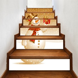 PVC Waterproof Eco-friendly 3D 6-Piece Golden Snow Man Self-Adhesive Stair Mural