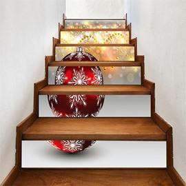 3D 6-Piece PVC Waterproof Eco-friendly Christmas Bell Self-Adhesive Stair Mural