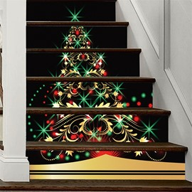Beautiful Christmas Tree 3D 6-Piece PVC Waterproof Eco-friendly Self-Adhesive Stair Mural