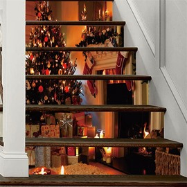 Warm Christmas Tree 3D 6-Piece PVC Waterproof Eco-friendly Self-Adhesive Stair Mural