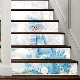 3D 6-Piece PVC Waterproof Snow Man Eco-friendly Self-Adhesive Stair Mural