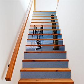 Sea View 6/13 Piece PVC Waterproof Eco-friendly Self-Adhesive Stair Mural