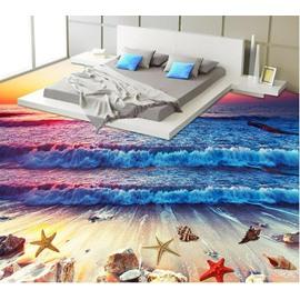 3D Colorful Sea Wave PVC Non-slip Waterproof Eco-friendly Self-Adhesive Floor Murals