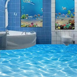 3D Water PVC Non-slip Waterproof Eco-friendly Self-Adhesive Floor Murals