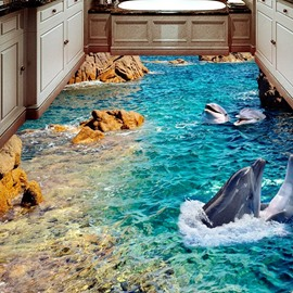 3D Cute Dolphin PVC Non-slip Waterproof Eco-friendly Self-Adhesive Floor Murals