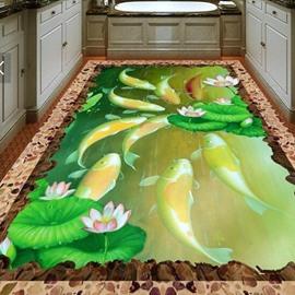 3D Fishpond Non-slip Waterproof Eco-friendly Self-Adhesive Floor Mural