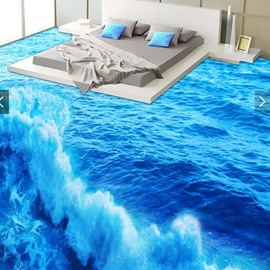 3D PVC Grand Sea Wave Non-slip Waterproof Eco-friendly Self-Adhesive Floor Mural