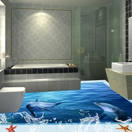 3D PVC Starfish And Dolphin Non-slip Waterproof Eco-friendly Self-Adhesive Floor Mural