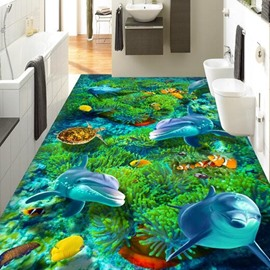 Cute Dolphin PVC 3D Non-slip Waterproof Eco-friendly Self-Adhesive Floor Murals