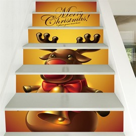 Cartoon Elk Pattern 6-Piece Waterproof Eco-friendly Self-Adhesive Stair Mural