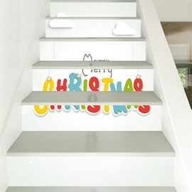 6-Piece Creative Christmas Letter Waterproof Eco-friendly Self-Adhesive Stair Mural