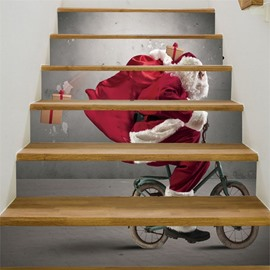 3D Father Christmas On The Bike 6-Piece PVC Waterproof Eco-friendly Self-Adhesive Stair Mural