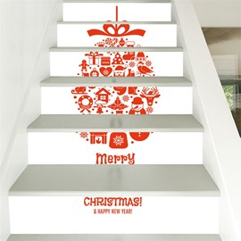 3D Creative Christmas Pattern 6-Piece PVC Waterproof Eco-friendly Self-Adhesive Stair Mural