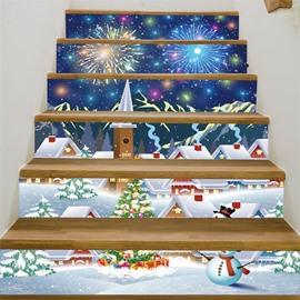 3D Cute Christmas 6-Piece PVC Waterproof Eco-friendly Self-Adhesive Stair Mural