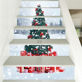Christmas Tree 6-Piece 3D PVC Waterproof Eco-friendly Self-Adhesive Stair Mural