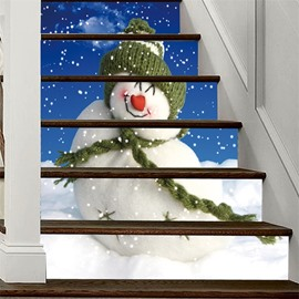 Snow Man With Green Hat 3D 6-Piece PVC Waterproof Eco-friendly Self-Adhesive Stair Mural