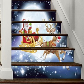 Father Christmas With Elk 3D 6-Piece PVC Waterproof Eco-friendly Self-Adhesive Stair Mural
