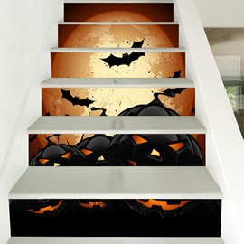 Halloween Bats And Pumpkins 3D 6-Piece PVC Waterproof Eco-friendly Creative Stair Stickers/ Decorations