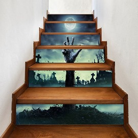 The Scary Hand of Halloween 3D 6-Piece PVC Waterproof Eco-friendly Creative Stair Stickers/ Decorations