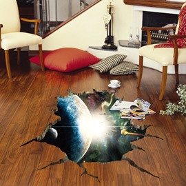 Planets Outerspace Pattern Waterproof 3D Floor Stickers PVC Wall Stickers