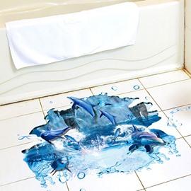 Dolphins Pattern Waterproof 3D Floor Stickers PVC Wall Stickers