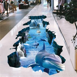 Dolphin and Sea 3D Floor Stickers Waterproof Self-adhesive Wall Stickers
