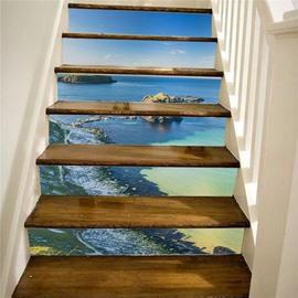 Sea Scenery 3D Stair Murals 6PCS PVC Waterproof Self-adhesive Creative Stair Stickers