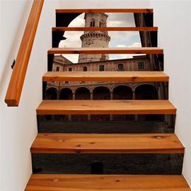 European Old Clock Tower 3D 6PCS PVC Waterproof Self-adhesive Creative Stair Stickers