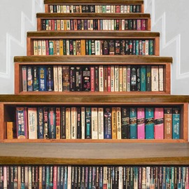 Bookshelf 7*39inch 6Pieces 3D Stair Murals Vintage Wall Stickers Home Decorations